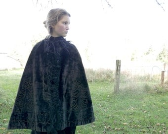 Victorian Velvet Cape with Beading and Soutache Trim XS S M