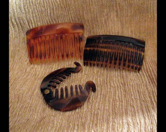 SET of 3 Vintage HAIR COMBS Tortoise Shell Barrettes & Clips, Made in France   Faux Tortoiseshell   Collectible Hairstyling Accessories