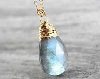 Labradorite Gold Necklace, Large Pendant Necklace, Labradorite Gemstone Necklace, Wire Wrap Necklace, Gold Filled Necklace, Grey Labradorite