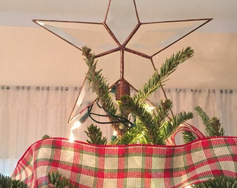 Beveled Glass Christmas Tree Topper, Simple 5 Point Rustic Star, Classic Star Topper