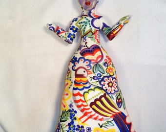 Bird of Paradise Goddess cloth art doll form w/face cab 11 in. tall You finish her Bead Decorate Fantasy