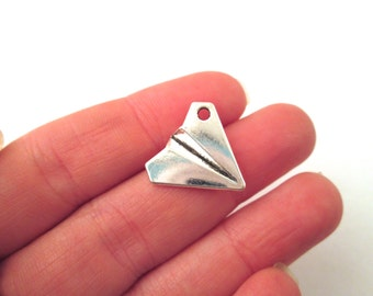 "Silver plated ""paper"" airplane charms 17x18mm, pick your amount, G93"