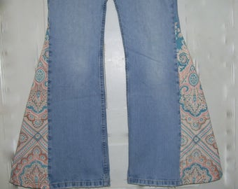 Retro Paisley Hippie Bell Bottom Jeans High Rise Jeans OOAK Boho Blue Terra Cotta Upcycled bells Jean Unique Vintage Adult 6 Ready to Ship