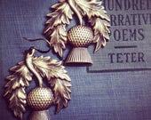 Thistle Earrings -Art Nouveau, Outlander, Steampunk, Filigree Scotland Antique Brass