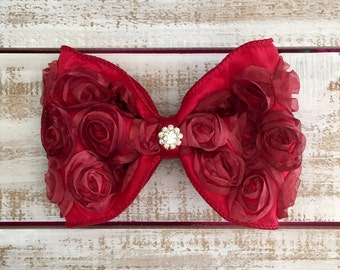 Red Rosette Hair Bow, Big Red Bow, Valentine's Day, Red Hair Bow, Red Hair Clip, Rosette Ribbon Hair Clip, Little Girl Hair Bow, Birthday