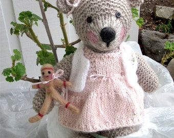 Stuffed Animal, Teddy Bear and Felted Gingerbread Girl/ Hand Knit Collectible Heirloom/Christmas Gift /In Search of Goldilocks    /