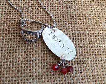 Thirsty Vampire hand stamped sterling silver necklace