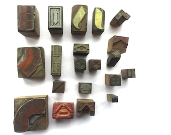 Vintage Japanese Stamp Set - Wood Stamps - Metal Stamps - Mixed Set of 20 - Shapes Arrows And Other Design Stamps (Set 2) -
