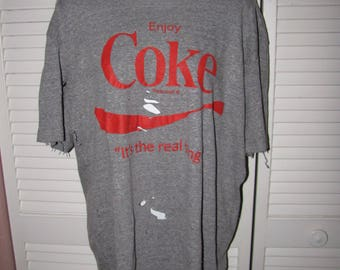 gray red enjoy Coke Coca Cola Its The Real Thing unisex deconstructed shredded cut up trashed t shirt mens medium M womens Large L