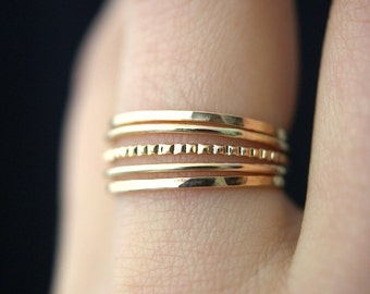 NEW Medium Thickness Gold Lined stacking ring set, gold stack ring, gold ring set, gold fill set, delicate gold ring, bark ring, set of 5