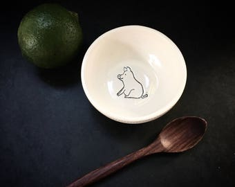 """Salt cellar in black and white """"Lucky Pig"""""""