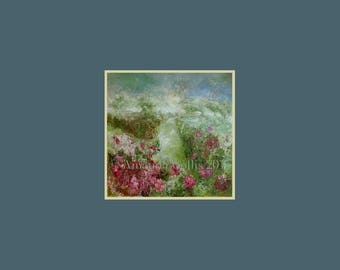 Fine art print, small, floral, rose garden, hedges, bushes, meadows, from original oil painting, green, red, pink, on A6 to A3 size