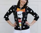 Mickey Mouse Sweater. Black White Polka Dot DISNEY Sweater. Disneyland Sweater. Black Polka Dot Peter Pan Collar. Mickey Mouse Shirt.
