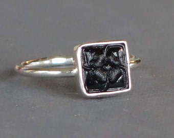 Antique Glass Button Ring, Square Ring, Black Statement Ring, Carved Glass Ring, Size 7, Flower Ring,