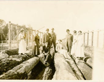 Vintage Photo 1920 Family on Giant Log Pull