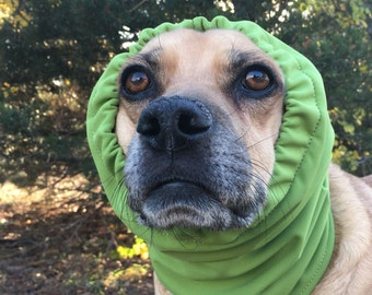 Water resistant Snood for medium size Dog, Softshell Fleece, Chartreuse Green, warm snood for dog
