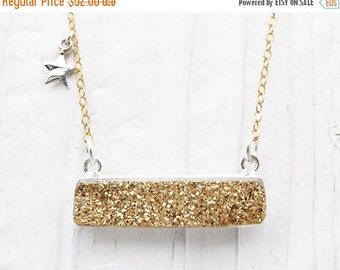 druzy bar necklace, gold druzy rectangle, sterling silver, titanium druzy, drusy, druzy, silver star necklace, celestial, druzy jewelry