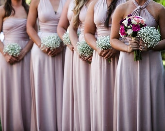 Gorgeous Upscale Bridesmaid Dresses tailored size & length Local USA Infinity TwoBirds DIY rose gold mismatched blush lace chiffon sequins