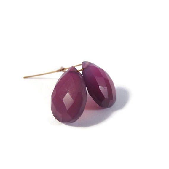 Two Purple Chalcedony Beads, Matched Pair of 2 Gemstone Briolettes, Teardrop Beads, 15mm x 10mm (Pt-Ch2)