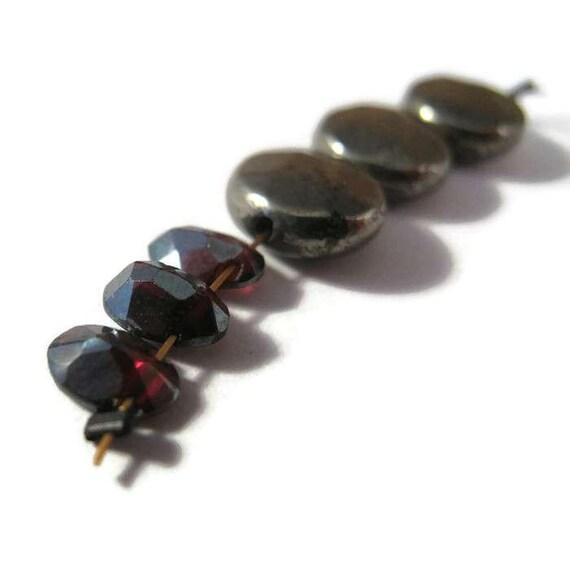 Three Almandine Garnet Beads, Three 10mm Pyrite Beads, Faceted Gemstone Beads, 6x4mm - 10x10mm, Gemstones for Making Jewelry (L-Mix4d)
