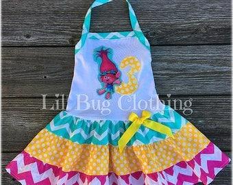 Poppy Troll Birthday Dress, Poppy Troll Birthday Party Dress, Poppy Troll Birthday Party Outfit, Spring Girl Dress
