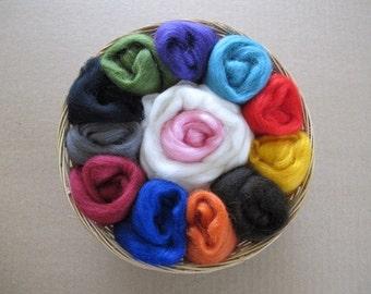Felting Gift Basket / Wool Sampler for Felters / Wool Basket