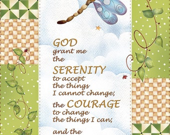"Serenity Prayer Fabric 5"" x 7"""
