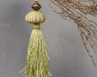 Green Sea Urchin Ornament Bohemian Beach Tassel - Green and gold