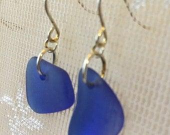 Dark blue sea glass style earrings, tumbled vintage glass, beach glass inspired earrings