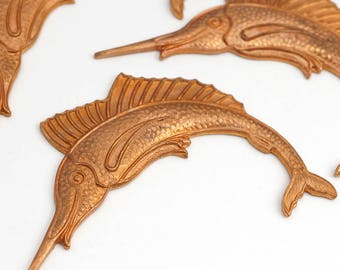 Brass marlin stampings, vintage heavy gauge sportfish great patina 55mm, 3 pcs