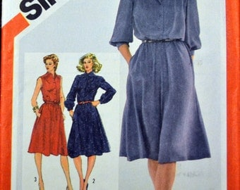 Vintage 80's Sewing Simplicity 5242 Misses' Pullover Shirtdress Size 18 & 20 Bust 40-42 Plus Size Complete Uncut