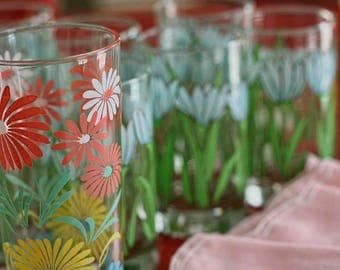 Kitchen Photo Art - Pretty Floral Glasses Photo - Vintage Tea Glasses and Pink Napkins Party Prep Wall Art - Pastels - Coral Bloom - Charm