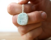Blue Quartz Necklace . Blue Gemstone Slice Necklace . Calming Stone Necklace . Quartz Slab Necklace - Mariner Collection NEW