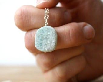 Blue Quartz Necklace . Blue Gemstone Slice Necklace . Calming Stone Necklace . Quartz Slab Necklace - Mariner Collection