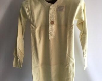 1950's Men's Hanes Standard Underwear Thermal Work Shirt Cream Ivory Cotton Flannel Size 36