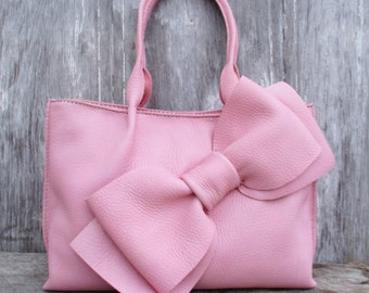 Soft Pink Leather Bow Tote Bag by Stacy Leigh