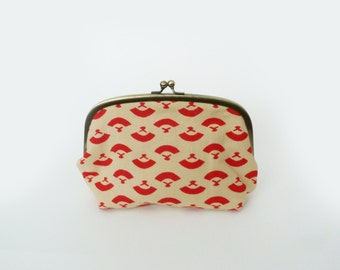 Cosmetic bag, beige and red Japanese fan design, cotton purse