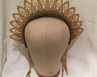 Gold Antiqued Gothic Headpiece Crown Show Girl, Burlesque, EGL, Lolita hair accessory