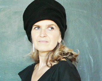 Black Boiled Wool Hat