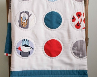 Modern Baby Quilt, CHARLEY HARPER DOTS; Custom Organic Crib Quilt, Contemporary Woodland Toddler Quilt, Handmade Circle Quilt, New Baby Gift