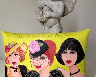 WOMEN OF PARIS pillow, hand painted, Paris, Edith Piaf, mustard, French women, rhinestones, Paris women, Francophone gift, gift for her