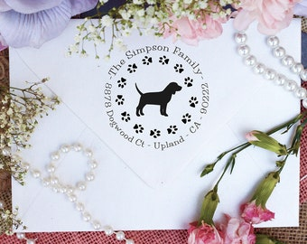 Beagle Dog Stamp, Beagle Lover Self Inking Custom Return Address Stamp, Cute Stamp for Beagle Lover, Dog Stamp --10342-PI53-000