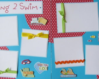 12x12 Premade Scrapbook Pages -- LEARNING 2 SWIM layout -- SwiMMinG LeSSonS - boy or girl, summer, baby, swimming pool, like a fish