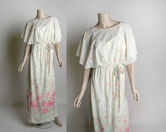 Vintage 1970s Maxi Dress - Floral Print Soft White Cream & Pink Flower Goddess Style Greek Dress - Slip Dress - Small Medium