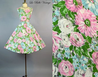 ALIX Floral Dress ~ Vintage 1950s Rhinestone Cotton Frock ~ Full Skirt Garden Party Sundress