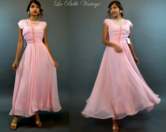 Vintage Pink Prom Dress 1940s Sheer Party Gown XS ~ Velvet Flowers