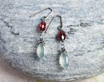 Sterling Silver Chalcedony Garnet Earrings, Sea Foam Gemstone, January Birthstone Jewelry, Rustic Wedding