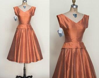 Vintage Silk Dress --- 1950s Burnt Orange Dress