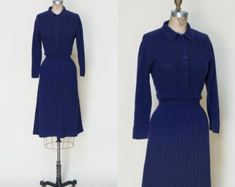 1940s Sweater Dress --- Vintage Knit Navy Dress