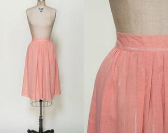 1980s Peach Skirt --- Vintage Knee Length Skirt